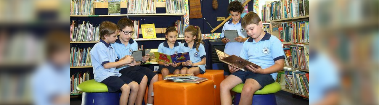 students reading books in the library